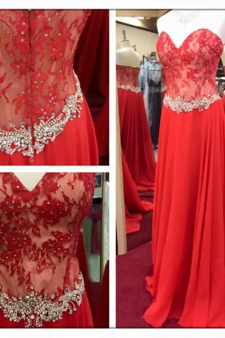 Lace Prom Dress, Red Prom Dress, Prom Gown, Cheap Prom Dress, Elegant Prom Dress, Sweet Heart Prom Dress