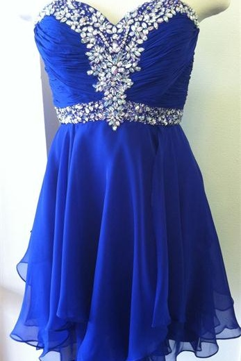 Top Selling Royal Blue Short Prom Dresses,Sweetheart Beaded Homecoming Dresses,Graduation Dresses
