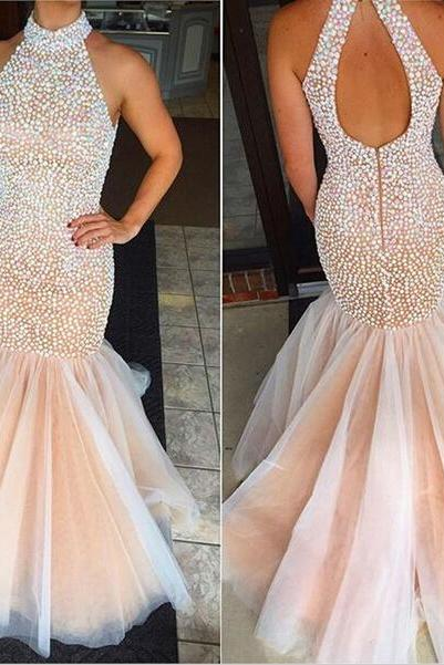 Real Sexy Prom Dresses,Mermaid Beaded Prom Dress,Sheath Evening Dresses,Open Back Evening Gowns,Long Party Dresses,Party Gowns