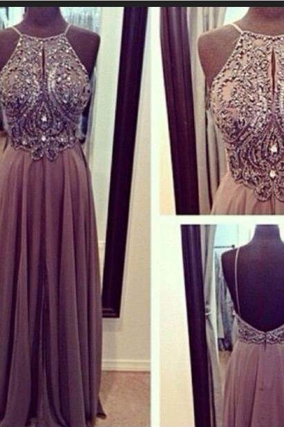 Hot Sales Gray Chiffon Spaghetti Straps Open Back Long Prom Dresses, A-line Floor-Length Halter Backless Grey Evening Dress Gown