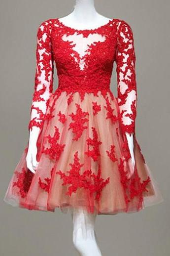 Real Made Red Lace O-Neck Homecoming Dresses ,Long Sleeve Graduation Dresses,Homecoming Dress,Short/Mini Homecoming Dress On Sale