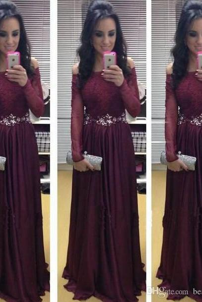 New Arrival Long Sleeve Floor-Length Charming Prom Dresses,A-Line Lace Floor-Length Evening Dresses, Prom Dresses, Real Made Prom Dresses On Sale