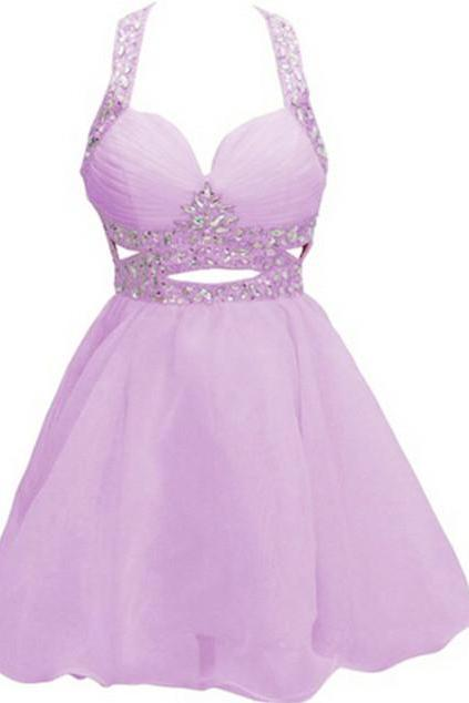 The Charming Halter Beading Homecoming Dresses,A-Line Graduation Dresses,Homecoming Dress,Short/Mini Homecoming Dress