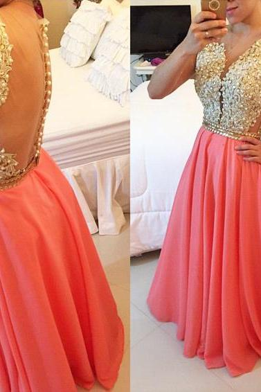 Prom Dresses,Sexy Sheer Back Prom Dresses,Long Prom Gowns, Appliques Prom Dress, Custom Prom Dress