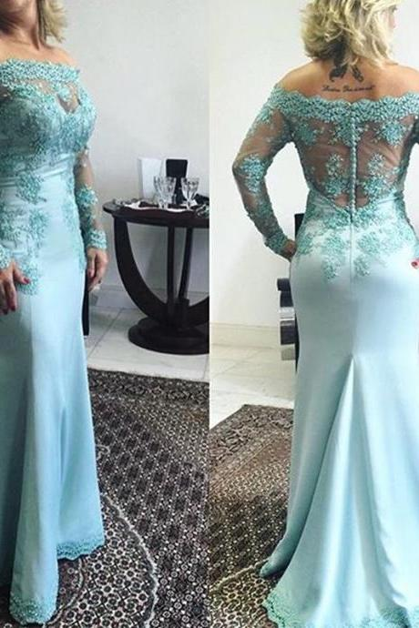 Evening Dress,Long Sleeve Evening Dress, Lace Evening Dress,Custom Made Evening Dress,Formal Evening Gowns,Wedding Guest Dress