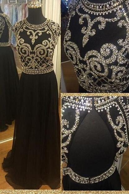 black evening dresses Long Prom Dress