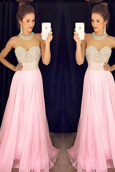 Gorgeous Prom Dresses,pink Prom Dresses Long Prom Dress,Beading Prom Dresses,Fashionable Prom Dresses
