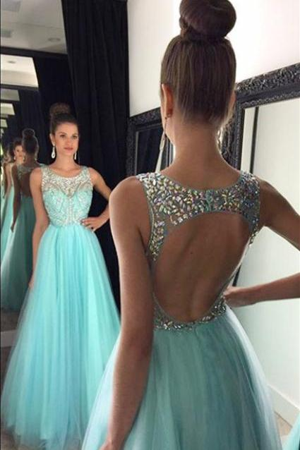 blue Long Lace With tulle Prom Dress, Sexy Side Slit Cheap Party Dress evening dresses