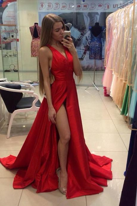 RED Satin prom dresses Evening Dress