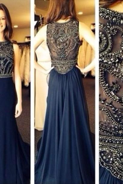 Prom Dress,Navy Prom Dress,Prom Dress, With Beading,Handmade Prom Dress,Prom Dress With Rhinestones,Prom Gown,Discount Prom Dress,Formal Prom Dress