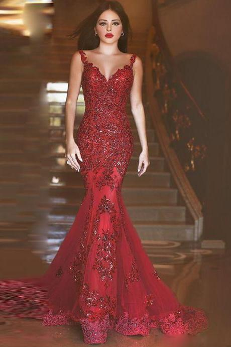 Mermaid Sweetheart Prom Dress,Beading Sequins Prom Dress,Prom Gowns,Lace Long Prom Dress,Sexy Backless Burgundy Prom Dress