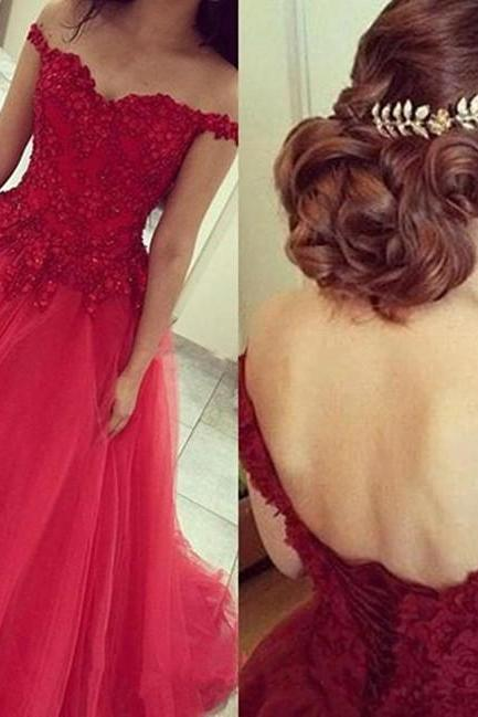 Prom Dress,Off The Shoulder Prom Dress,Lace Prom Dress,Red Prom Dress,A-Line Prom Dress,Evening Dress,Organza Prom Dress