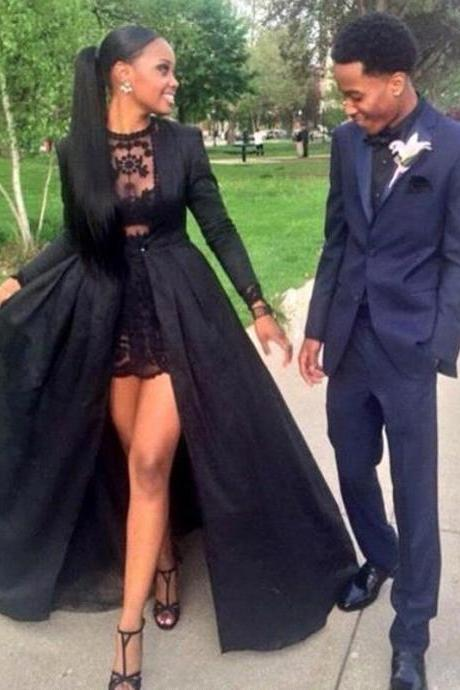 Sexy Two Piece Prom Dresses,Black Lace Short Prom Dresses,Long Sleeve Prom Dress With Detachable Coat ,Floor-Length Prom Dress,Special Occasion Dress