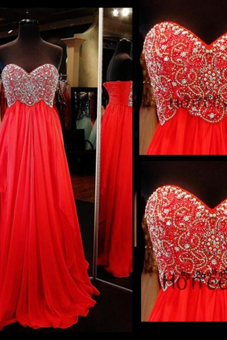 Prom Dresses,Prom Dress 2016,Sweetheart Prom Dresses,Sparkling Prom Dresses,Red Party Dress,Long Party Dress,Beaded Prom Dresses,Handmade Prom Dresses,A-Line Prom Dresses,New Style Prom Dresses,Dress For Prom