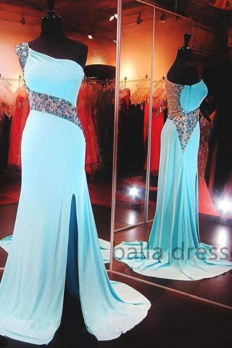 One Shoulder Prom Dresses,Luxury Prom Dresses,Beaded Prom Dresses,Handmade Prom Dresses,Mermaid Prom Dresses,New Style Prom Dresses,Fast Shipping