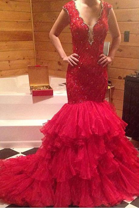RED lace Prom Dresses Evening Dresses v-neck Party dresses backless evening dresses