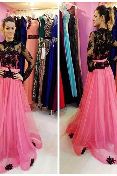 Black Lace Long Sleeve Elegant Pink Prom Dresses High Neck Tulle Sweep Train Formal Party Dress Fashion Special Occasion Dress