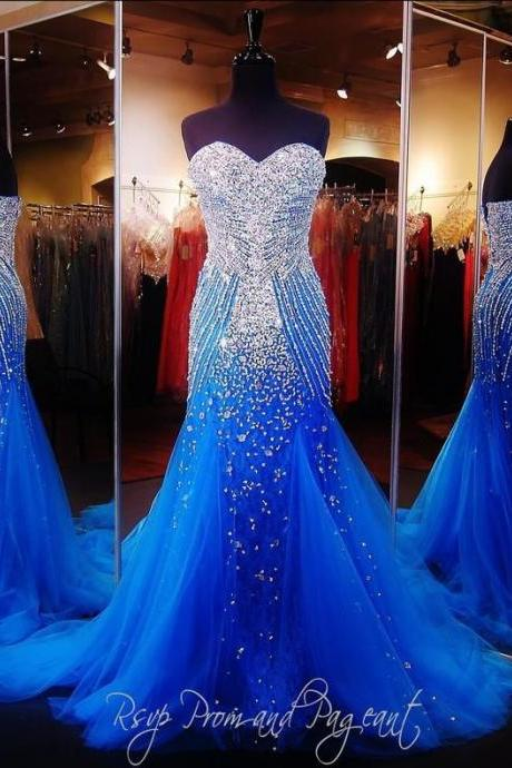 Luxury Blue Mermaid Prom Pageant Dress With Sweetheart Sleeveless Sweep Train Sparkling Crystal Beading Tulle Formal Christmas Evening Dress
