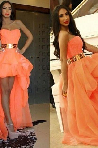 Modern Custom Made Hot Sale Prom Dresses Peach Organza Sweetheart Ruched And Gold Belt High Low A-Line Party Dresses