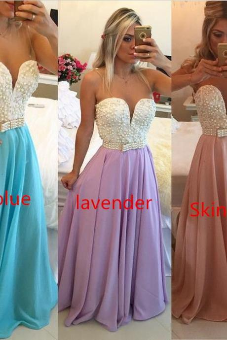 Pearl Blue Long Prom Dresses 2017 Beaded Floor Length Prom Dress Backless Party Dresses Vestidos De Festa