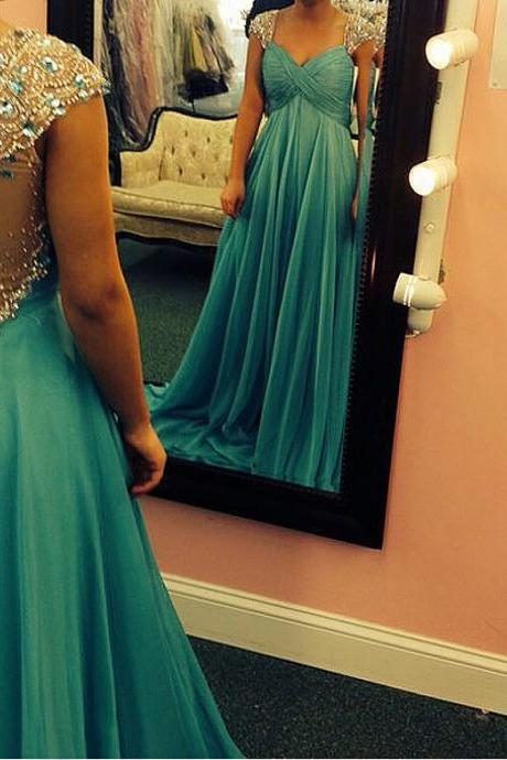 Custom Made Prom Dresses,Long Chiffon Beaded Cap Sleeves Party Dresses ,Green Crystals Evening Dresses,Fashinable Formal Dresses