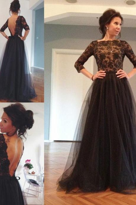 Hot Sale Tulle Long Sleeve Black Lace Evening Gowns Dresses Sexy A Line Open Back Prom Formal Gowns Women Dresses