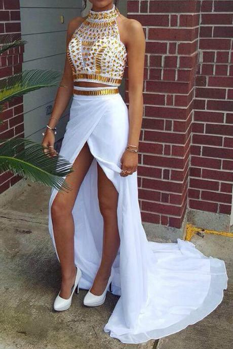 Custom Made High Neck 2 Pieces Long Prom Dresses With Gold Crystals,High Slit Long Chiffon Party Dresses