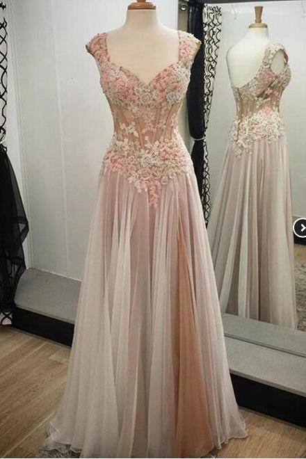 Appliques Custom Made A-Line Prom Dresses, Floor-Length Evening Dresses,Prom Dresses
