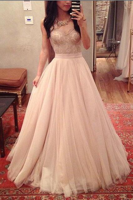 A-Line Charming Prom Dresses, Floor-Length Evening Dresses, Real Made Charming Evening Dresses