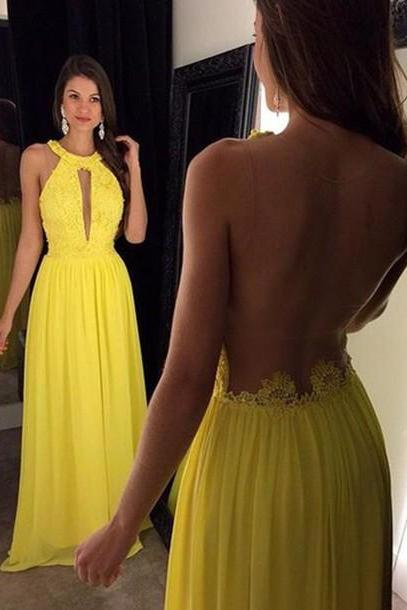 Halter Prom Dresses, Floor-Length Evening Dresses, Real Made Charming Evening Dresses