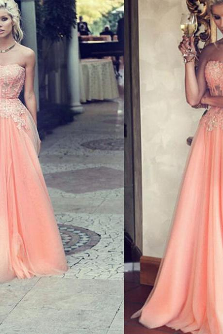Prom Dresses,Coral Prom Dresses,Elegant Prom Dresses,Custom Prom Dresses,Sheer Lace Prom Dresses,See-Through Prom Dresses,Long Prom Dresses,Strapless Prom Dresses,Wedding Party Dress,Dresses For Prom
