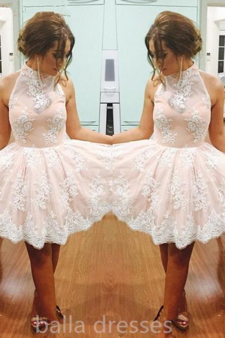 Graduation Dress,Pretty Graduation Dress,Lace Graduation Dress,High Collar Graduation Dress,Short Graduation Dress,Modest Graduation Dress