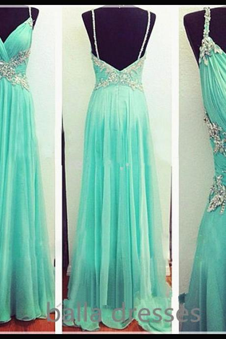 Prom Dress, Spaghetti Straps Prom Dress, Long Prom Dress,Charming Prom Dress,Beaded Prom Dresses,Backless Prom Dress, 2016 Newest Prom Dress