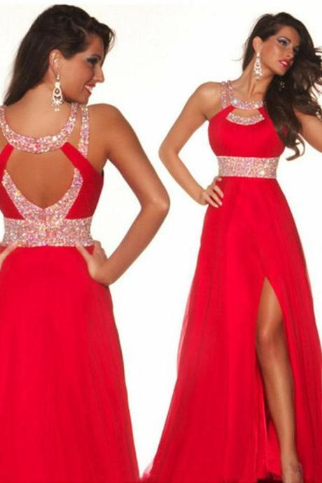 Prom Dress,A-Line Prom Dress,Red Prom Dress,Split Prom Dress,Beaded Prom Dress,Chiffon Prom Dress,Long Prom Dress,Dress For Prom,Party Dress,Gorgeous Prom Dress