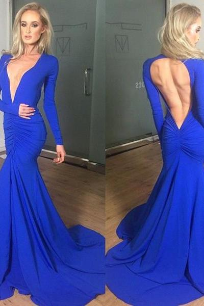 Blue Prom Dress,Long Sleeve Prom Dress,Backless Prom Dress,Mermaid Prom Dress,Deep V Neckline Prom Dress