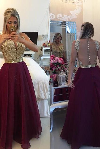 Sexy Open Back Burgundy Prom Dress,Illusion Lace Graduation Dress,Burgundy Formal Party Dress