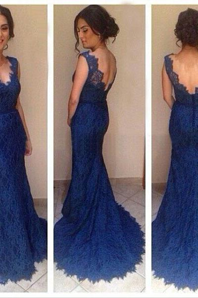 Mermaid Blue Lace Prom Dress,V-Back Royal Blue Lace Evening Dress,Mermaid Graduation Dress