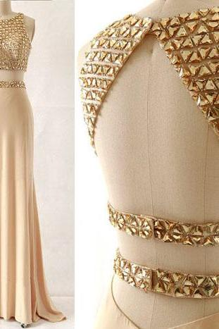 Sexy Two Piece Prom Dress,Beaded Keyhole Back Occasion Dress,Sexy Open Back Graduation Dress,Champagne Evening Dress