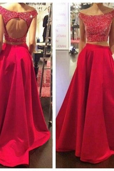 Two Piece Red Prom Dress,Keyhole Back Graduation Dress,Beaded Occasion Dress,Sexy Open Back Party Dress