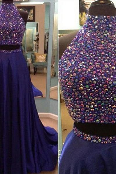 Two Piece Prom Dress.Beaded Graduation Dress,Sexy Two Piece Evening Party Dress,Deep Blue Halter Neckline Occasion Dress