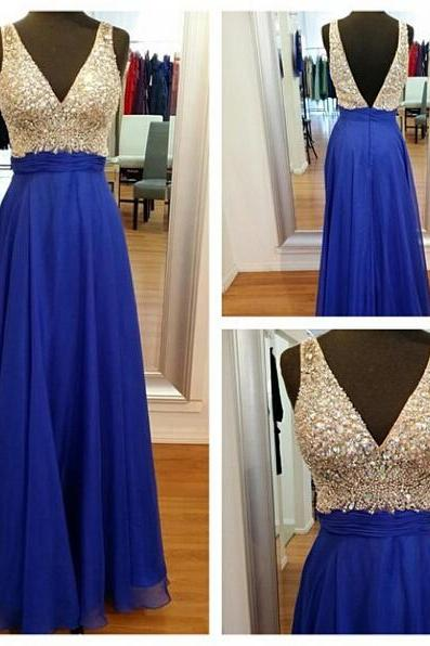 A-Line V-Neckline Blue Prom Dress,Deep V-Back Graduation Dress,Beaded Royal Blue Occasion Dress,Evening Party Dress