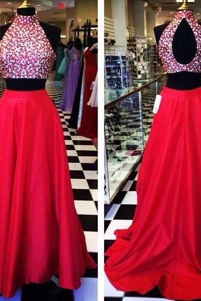 Stunning Red Evening Dresses Two Pieces Cheap High Neck A Line Satin Backless 2 Piece Prom Dresses Formal Gowns Pageant Dress 2016 Custom