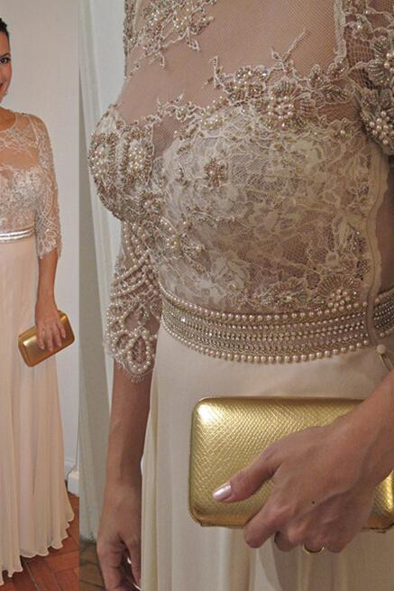 Beaded Prom Dresses , Champagne Evening Dresses , Piping Prom Dress , Sheath Prom Dresses , Prom Dress Long Cheap , Prom Dress 2016 , Formal Dresses Appliques, Lace Prom Dress , Prom Dress Fashion,Pearls