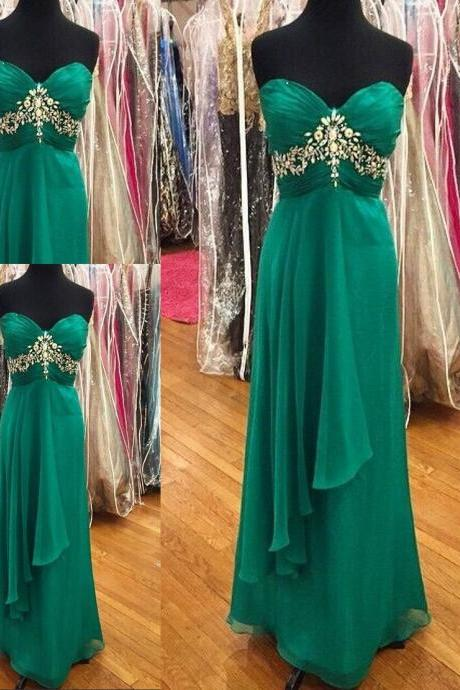 Simple Green New Style Crystals Beaded Sweetheart Formal Dresses Long Open Back Prom Dresses Cheap Evening Dresses 2016 For Women Girls Homecoming Dresses Party Gowns