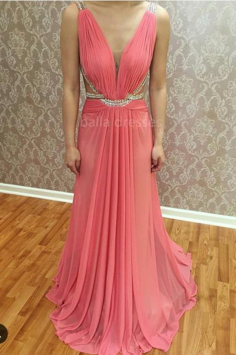 Plunging V-Neck Pleated Floor Length Long Evening Dress With Beaded Straps