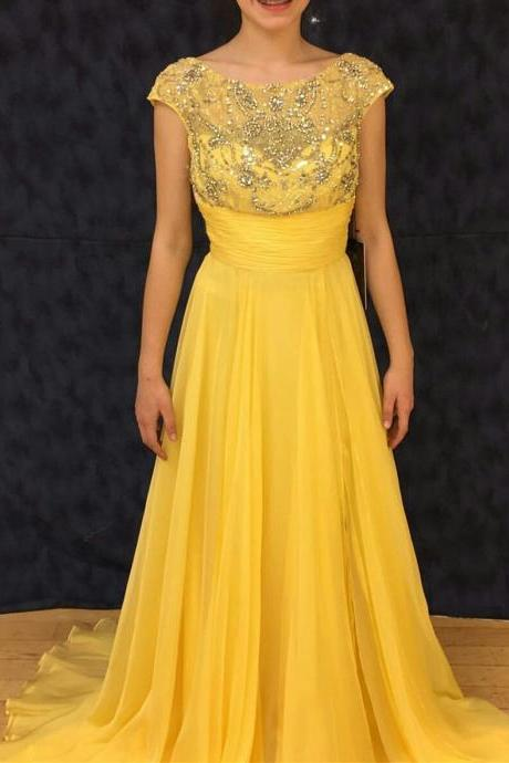 Yellow Beaded Scoop Neckline Cap Sleeves Floor Length Prom Dress