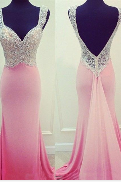 Prom Dress,V-Neck Prom Dress,Beading Prom Dress,Satin Prom Dress,Mermaid Evening Dress