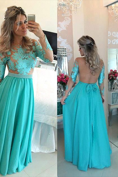 Evening Dress, A-Line Evening Dress, Long Sleeve Evening Dress, Chiffon Evening Dress, Green Evening Dress, Latest Evening Dress, Lace Evening Dress, Applique Evening Dress, Open Back Evening Dress