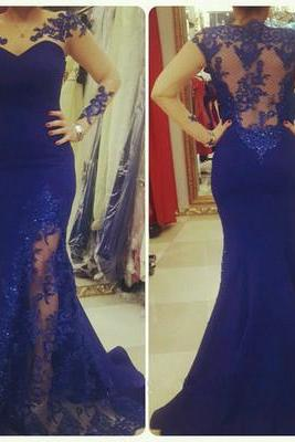 Royal Blue Prom Dresses,2016 Lace Evening Dress,Backless Prom Dress,Prom Dresses With Long Sleeves,Charming Prom Gown,Open Back Prom Dress,Mermaid Fashion Evening Gowns for Teens