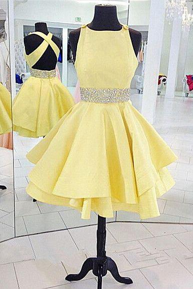 Homecoming Dress,Yellow Homecoming Dress,Short Sweet 16 Homecoming Dress,Cocktail Party Dress